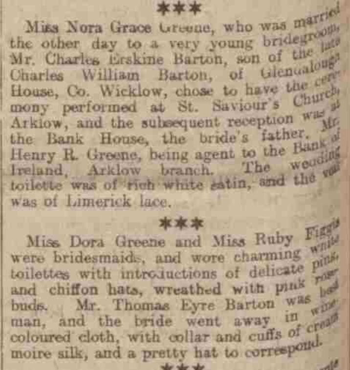 wedding report Norah Greene and Charles Erskine Barton 1906