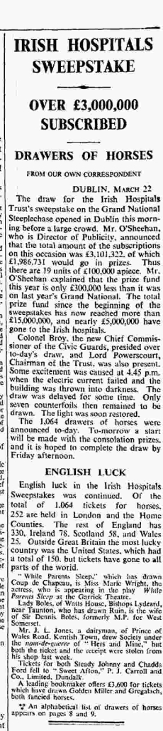 extract from The Times, 1933, about Irish Hospitals Sweepstake